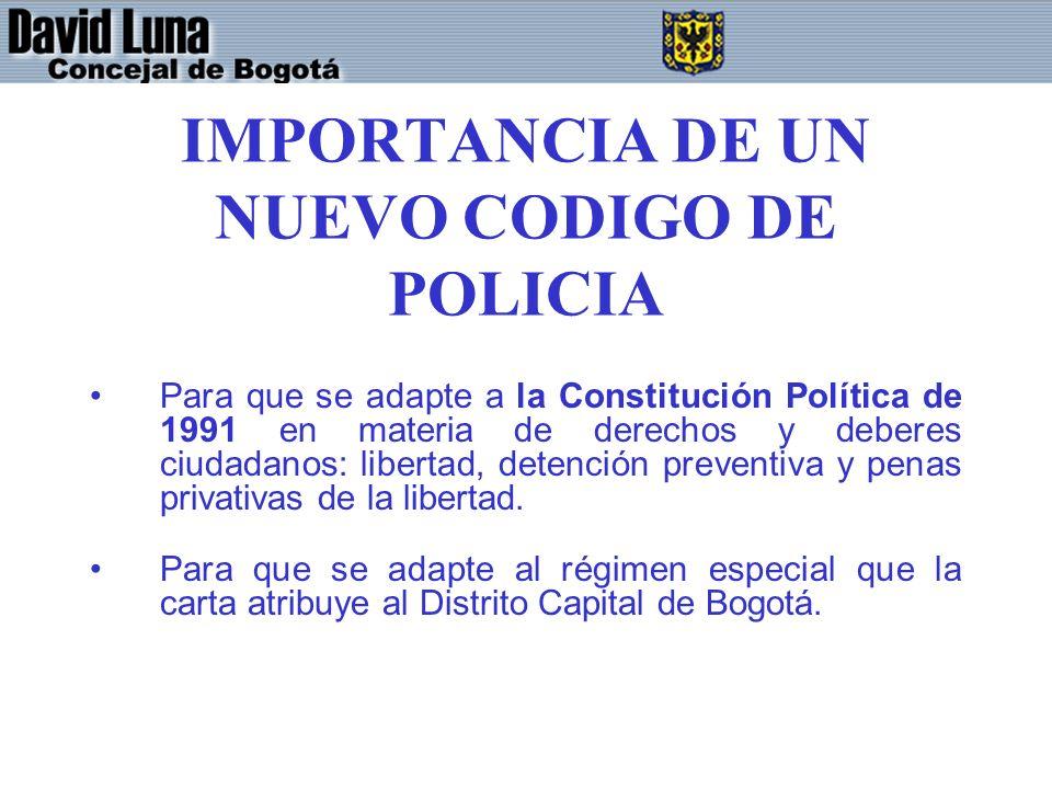 IMPORTANCIA DE UN NUEVO CODIGO DE POLICIA