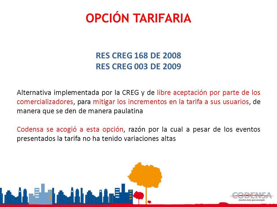 OPCIÓN TARIFARIA RES CREG 168 DE 2008 RES CREG 003 DE 2009