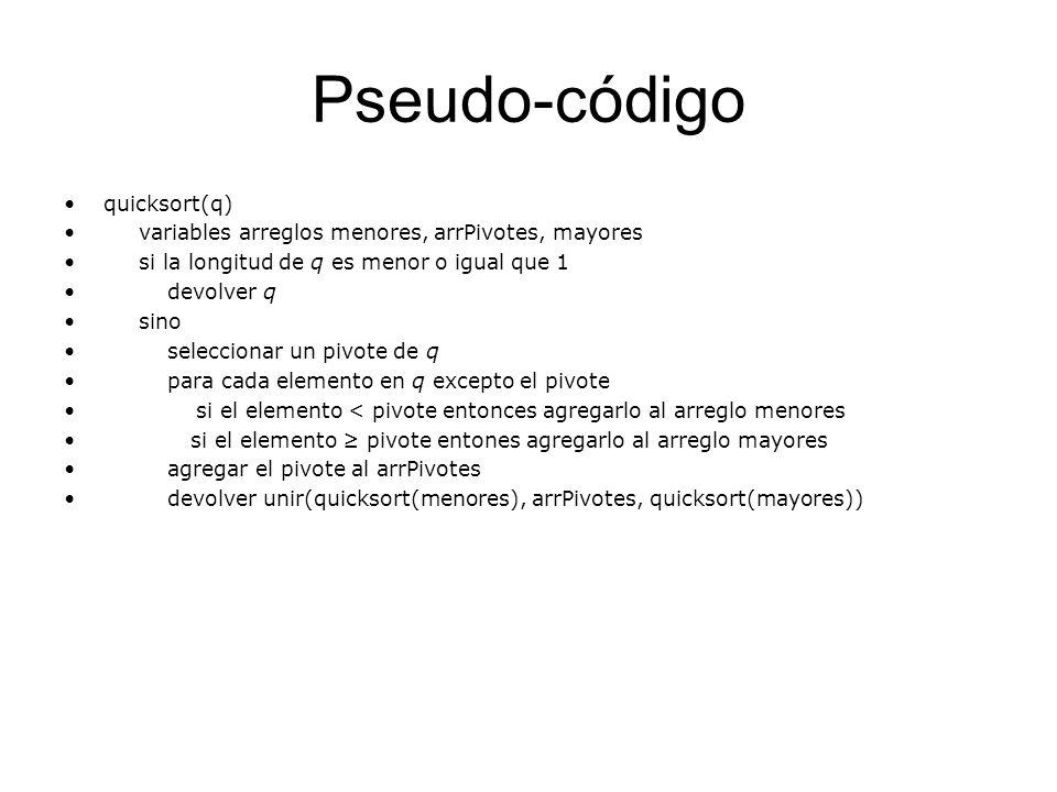 Pseudo-código quicksort(q)