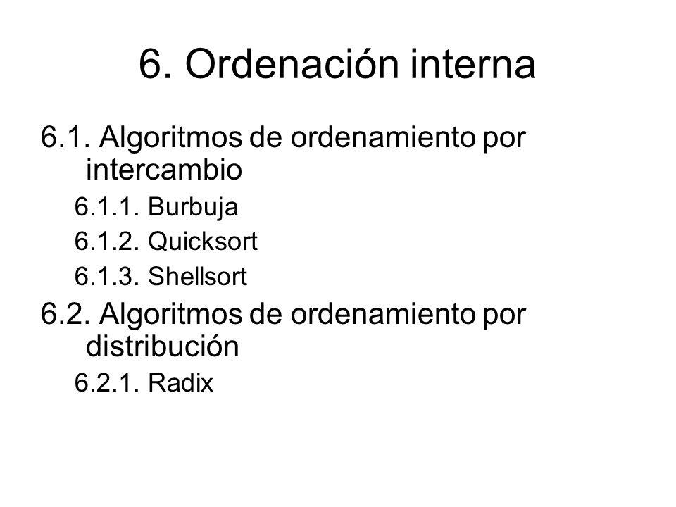 6. Ordenación interna 6.1. Algoritmos de ordenamiento por intercambio