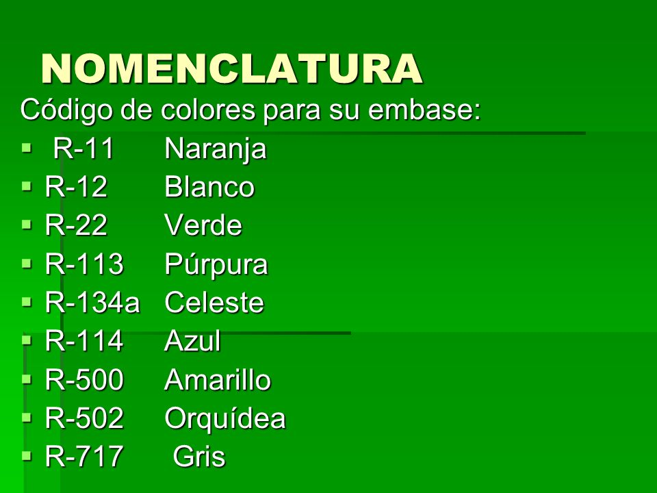 NOMENCLATURA Código de colores para su embase: R-11 Naranja