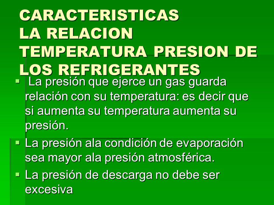CARACTERISTICAS LA RELACION TEMPERATURA PRESION DE LOS REFRIGERANTES