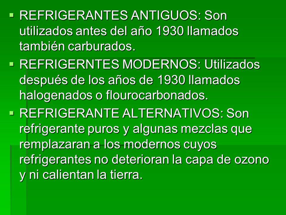 REFRIGERANTES ANTIGUOS: Son utilizados antes del año 1930 llamados también carburados.