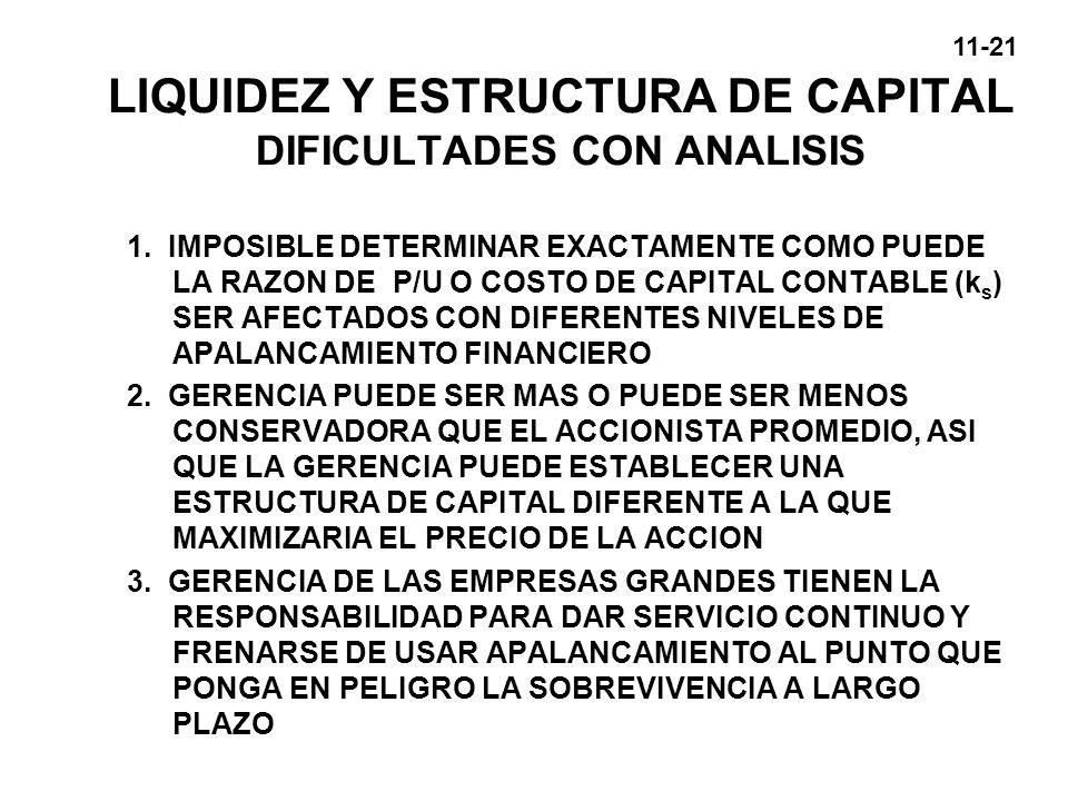 LIQUIDEZ Y ESTRUCTURA DE CAPITAL DIFICULTADES CON ANALISIS