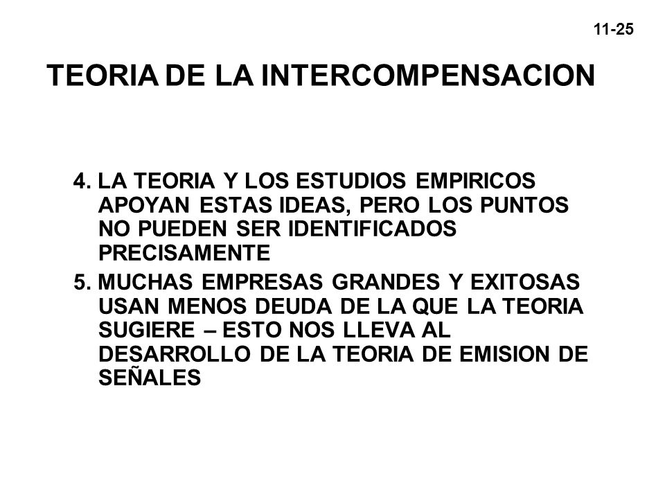 TEORIA DE LA INTERCOMPENSACION