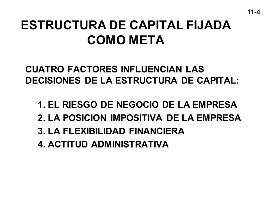 ESTRUCTURA DE CAPITAL FIJADA COMO META