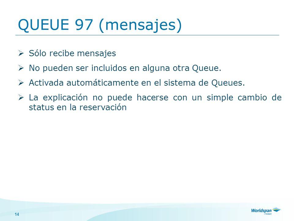 QUEUE 97 (mensajes) Sólo recibe mensajes