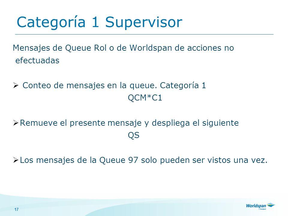 Categoría 1 Supervisor Mensajes de Queue Rol o de Worldspan de acciones no. efectuadas. Conteo de mensajes en la queue. Categoría 1.