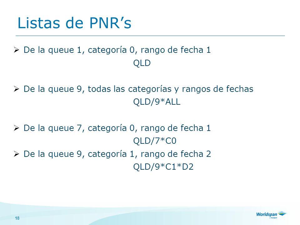 Listas de PNR's De la queue 1, categoría 0, rango de fecha 1 QLD