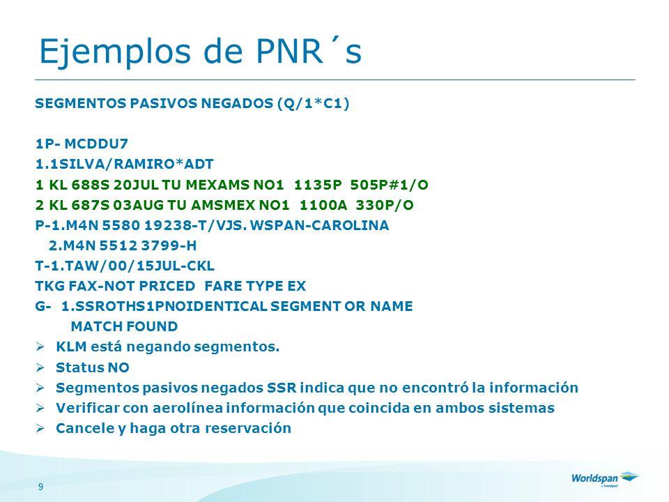 Ejemplos de PNR´s SEGMENTOS PASIVOS NEGADOS (Q/1*C1) 1P- MCDDU7
