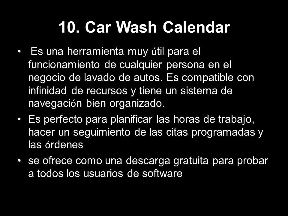 10. Car Wash Calendar