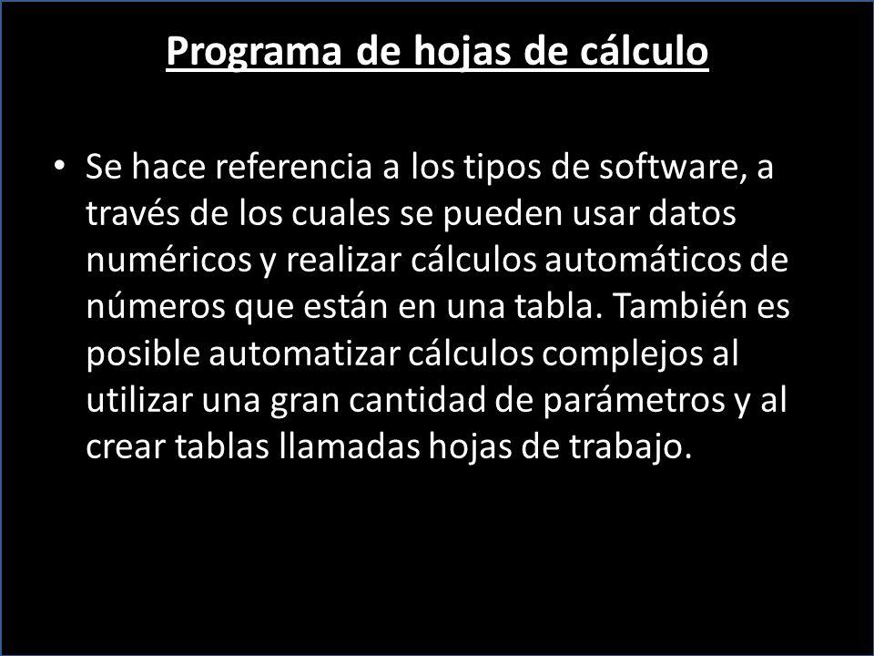 Programa de hojas de cálculo