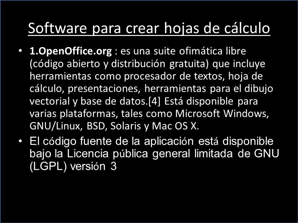 Software para crear hojas de cálculo