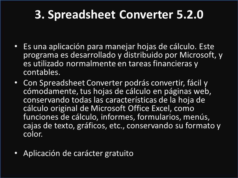 3. Spreadsheet Converter 5.2.0