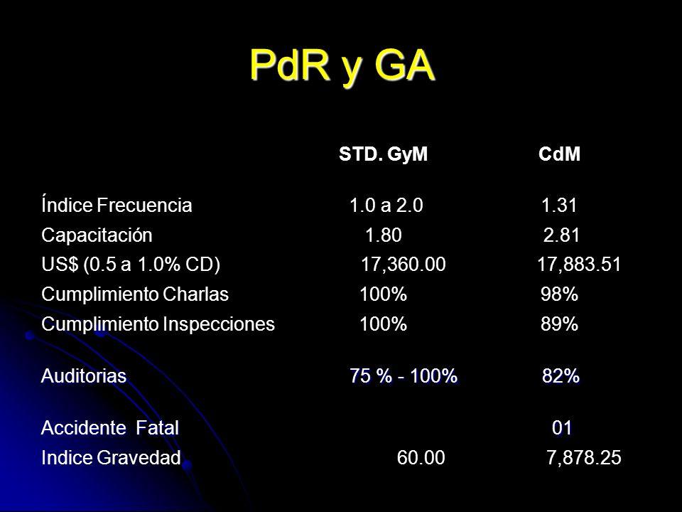 PdR y GA STD. GyM CdM Índice Frecuencia 1.0 a 2.0 1.31 Capacitación