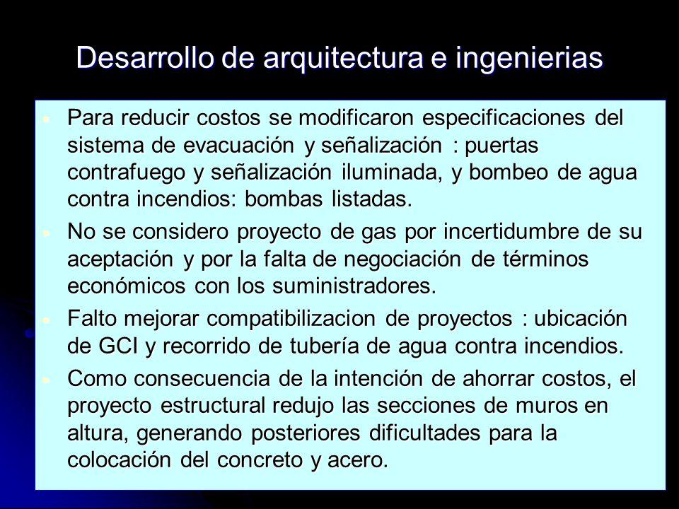Desarrollo de arquitectura e ingenierias