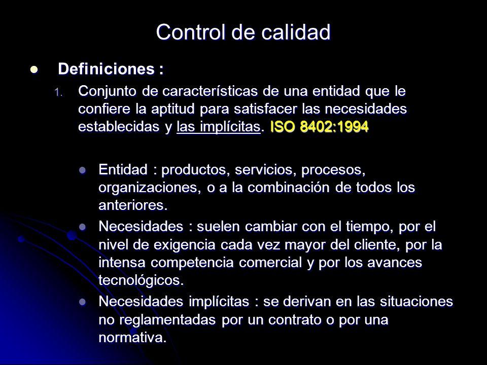 Control de calidad Definiciones :