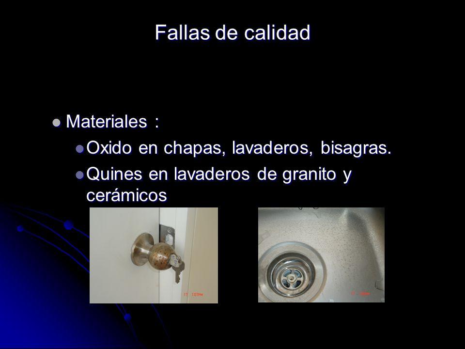 Fallas de calidad Materiales : Oxido en chapas, lavaderos, bisagras.
