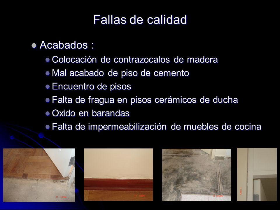 Fallas de calidad Acabados : Colocación de contrazocalos de madera