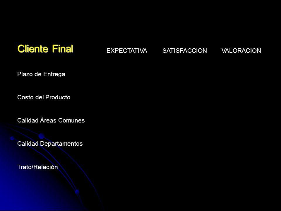 Cliente Final EXPECTATIVA SATISFACCION VALORACION Plazo de Entrega