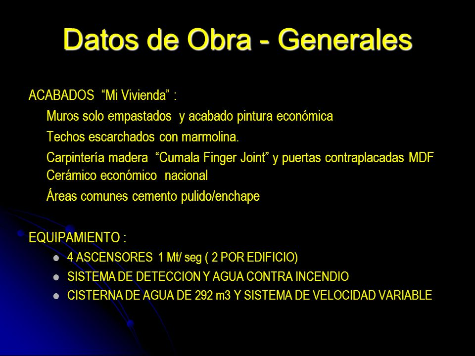 Datos de Obra - Generales