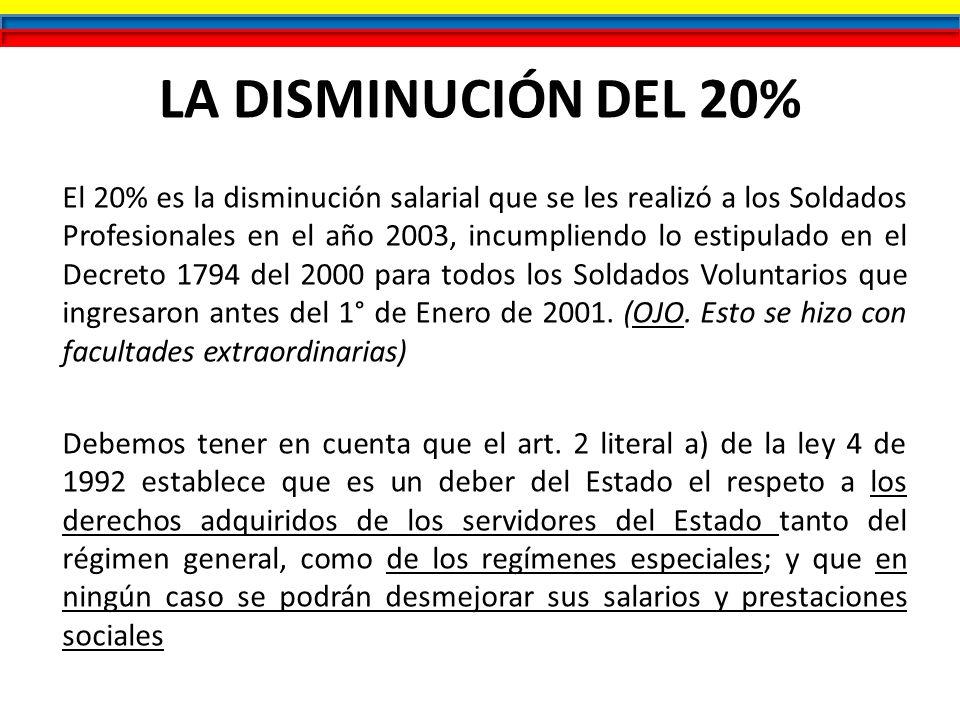LA DISMINUCIÓN DEL 20%