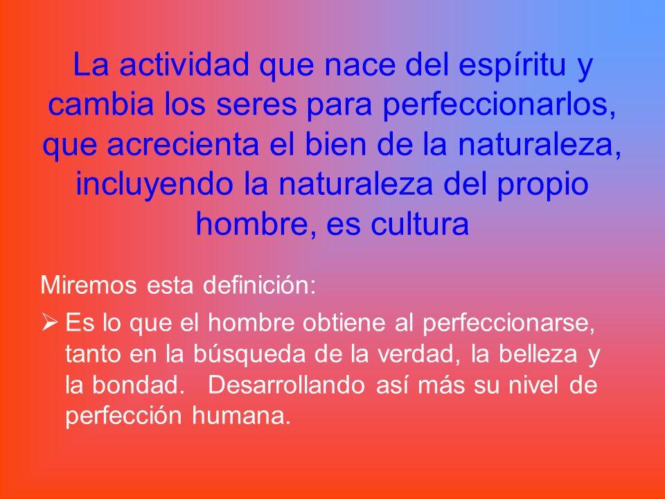 La actividad que nace del espíritu y cambia los seres para perfeccionarlos, que acrecienta el bien de la naturaleza, incluyendo la naturaleza del propio hombre, es cultura
