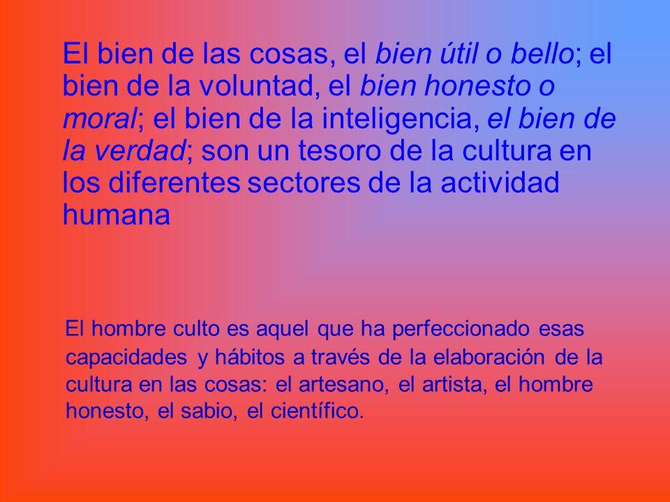 El bien de las cosas, el bien útil o bello; el bien de la voluntad, el bien honesto o moral; el bien de la inteligencia, el bien de la verdad; son un tesoro de la cultura en los diferentes sectores de la actividad humana