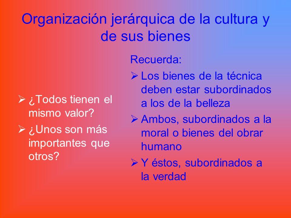 Organización jerárquica de la cultura y de sus bienes