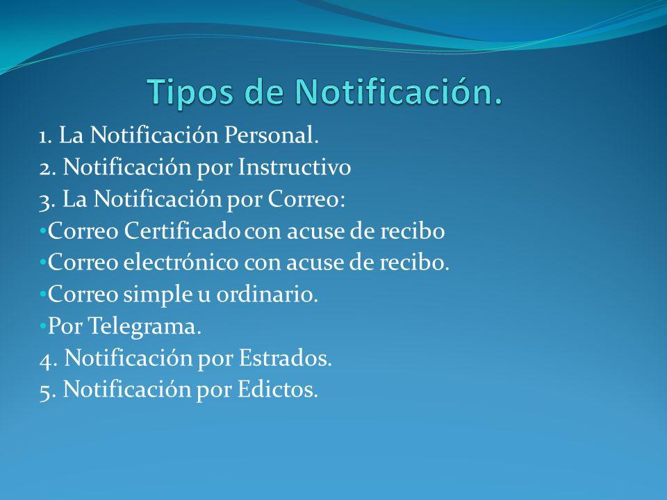 Tipos de Notificación. 1. La Notificación Personal.