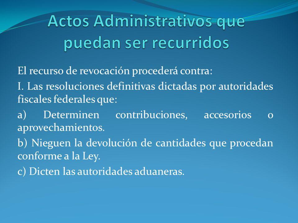 Actos Administrativos que puedan ser recurridos