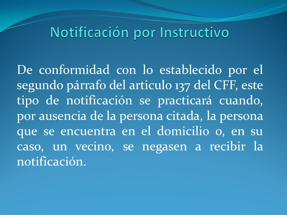 Notificación por Instructivo