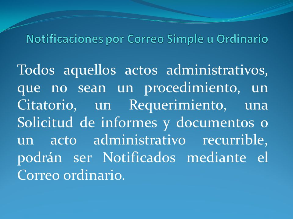 Notificaciones por Correo Simple u Ordinario