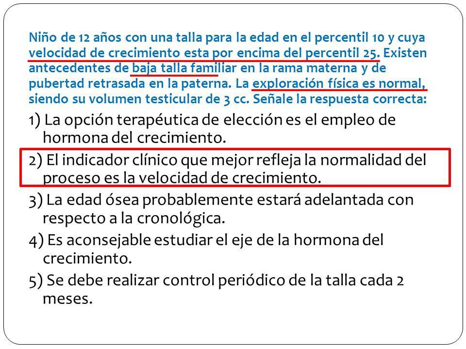 4) Es aconsejable estudiar el eje de la hormona del crecimiento.