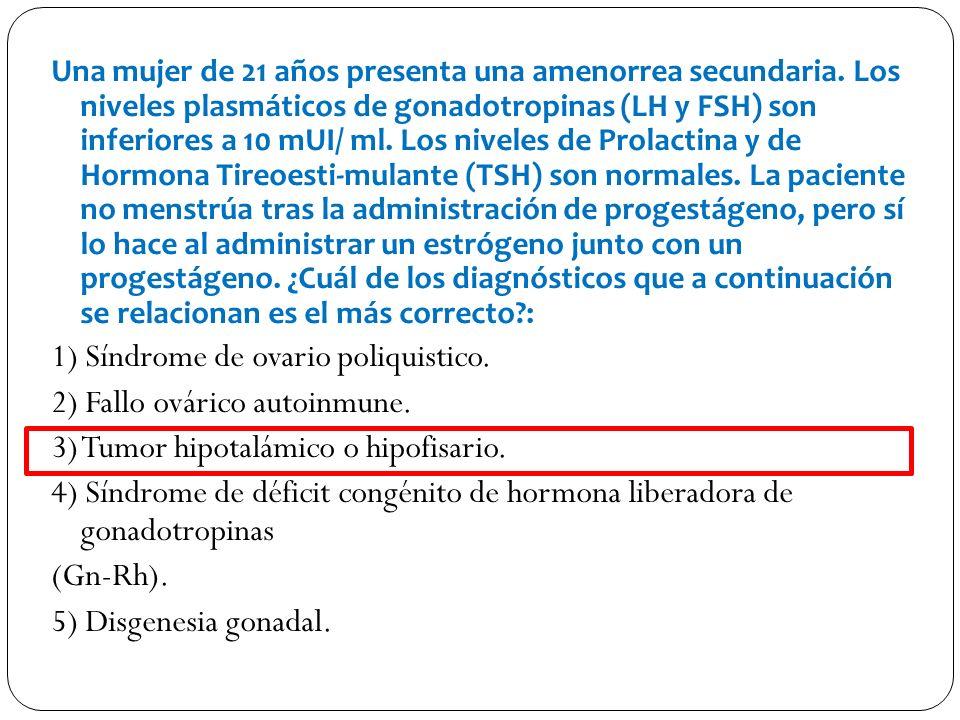 1) Síndrome de ovario poliquistico. 2) Fallo ovárico autoinmune.