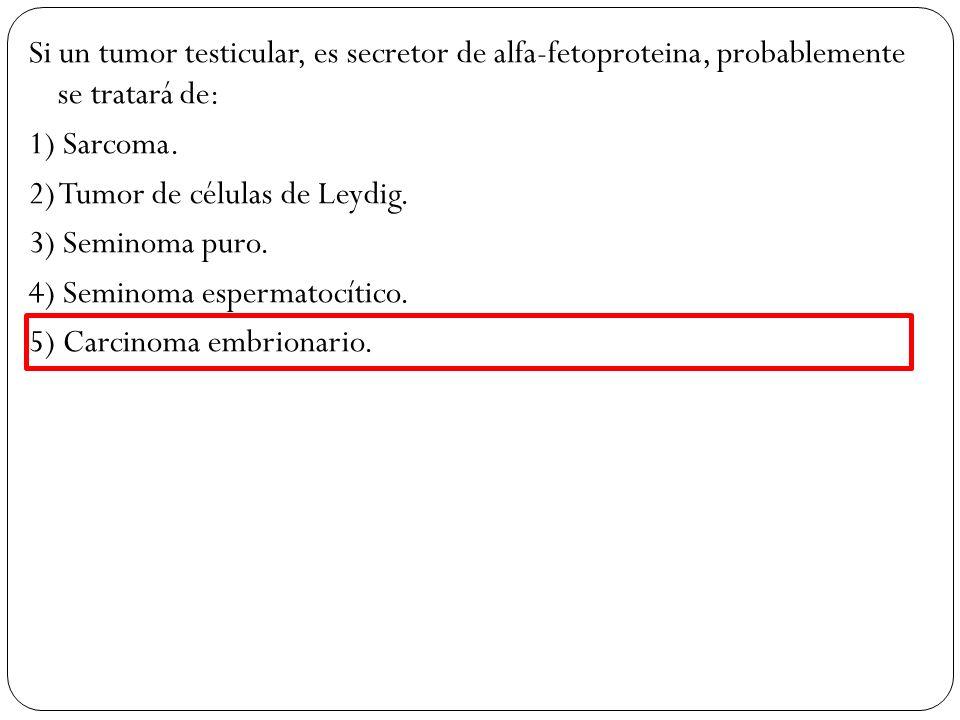 Si un tumor testicular, es secretor de alfa-fetoproteina, probablemente se tratará de: 1) Sarcoma.