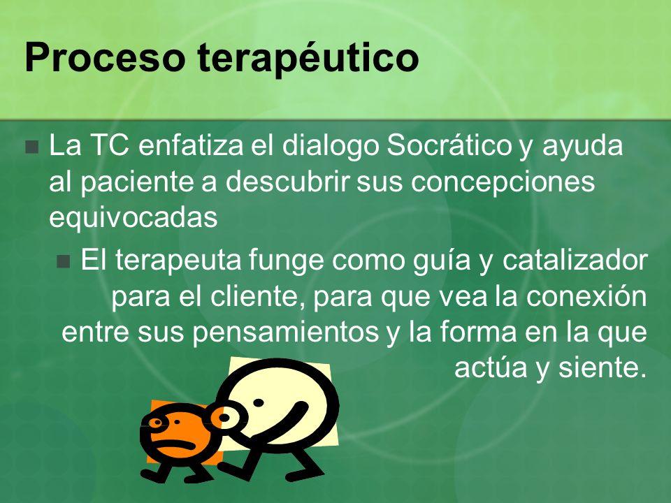 Proceso terapéutico La TC enfatiza el dialogo Socrático y ayuda al paciente a descubrir sus concepciones equivocadas.