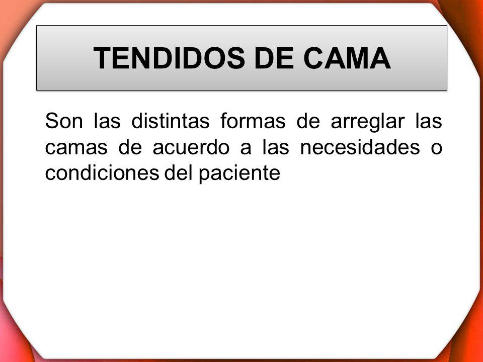 TENDIDOS DE CAMASon las distintas formas de arreglar las camas de acuerdo a las necesidades o condiciones del paciente.