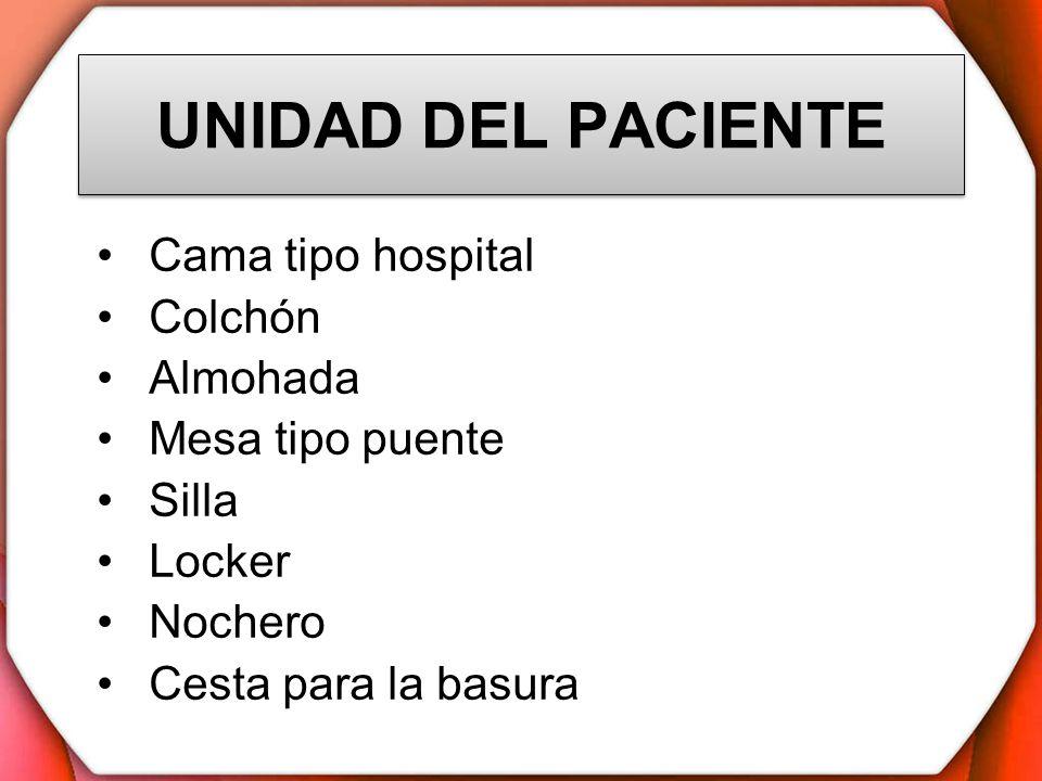 UNIDAD DEL PACIENTE Cama tipo hospital Colchón Almohada