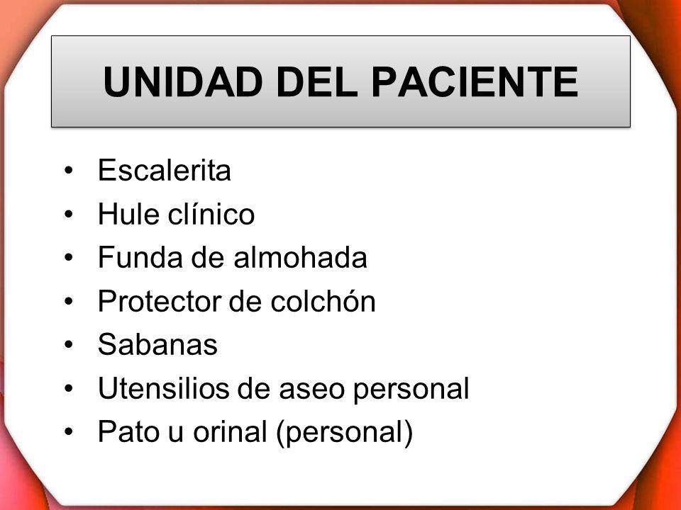 UNIDAD DEL PACIENTE Escalerita Hule clínico Funda de almohada
