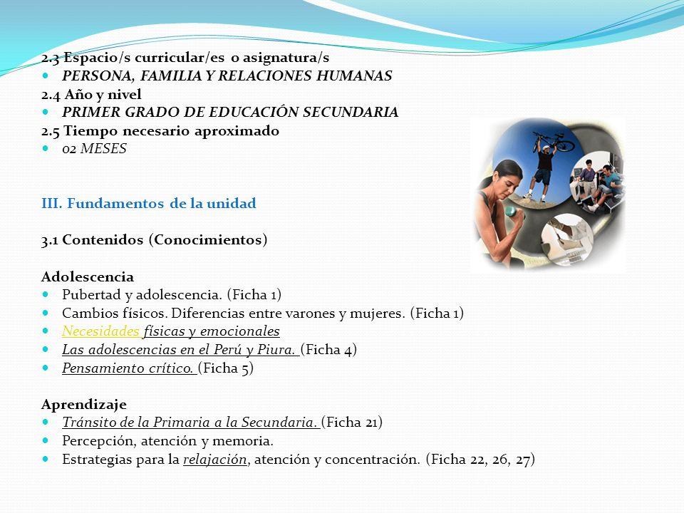 2.3 Espacio/s curricular/es o asignatura/s