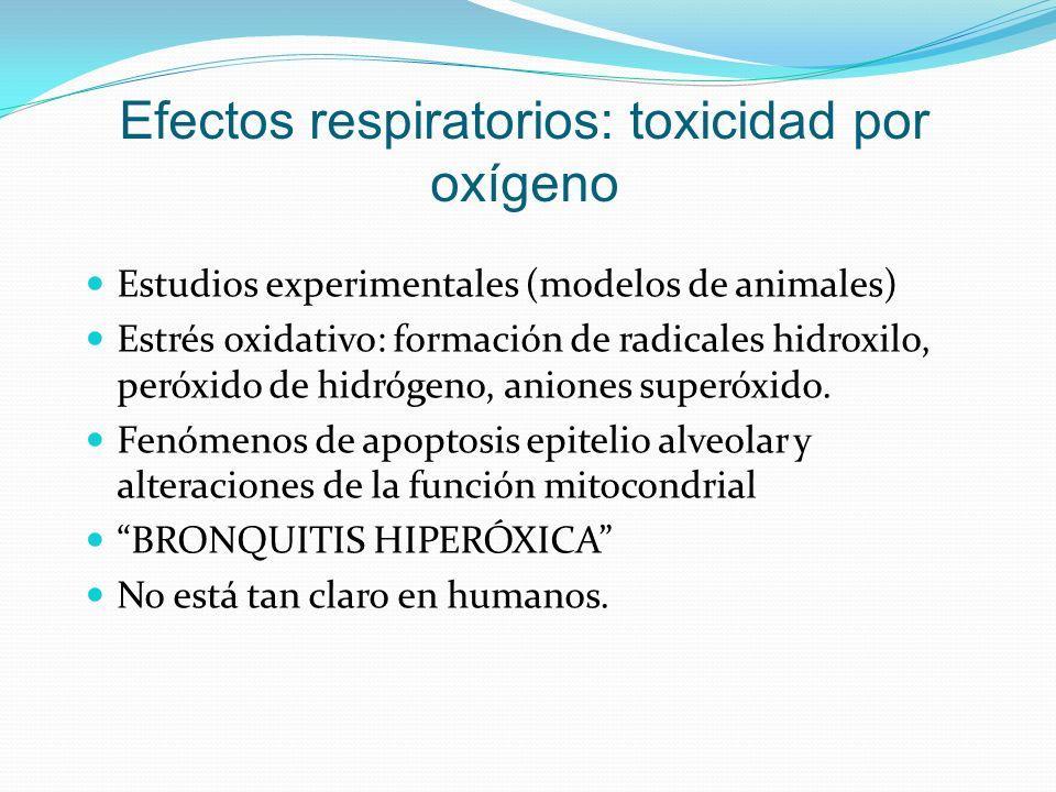 Efectos respiratorios: toxicidad por oxígeno