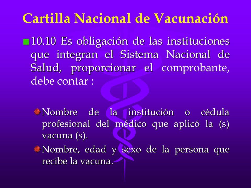 Cartilla Nacional de Vacunación
