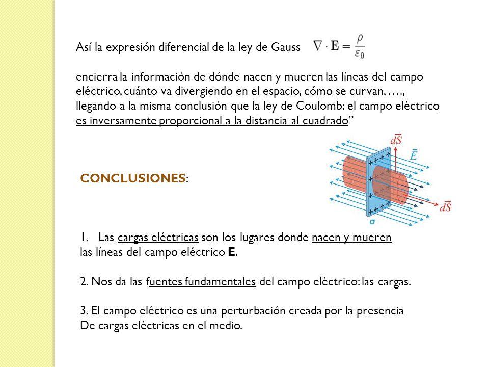 Así la expresión diferencial de la ley de Gauss