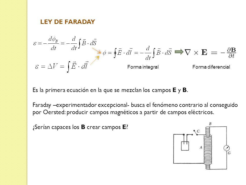Es la primera ecuación en la que se mezclan los campos E y B.