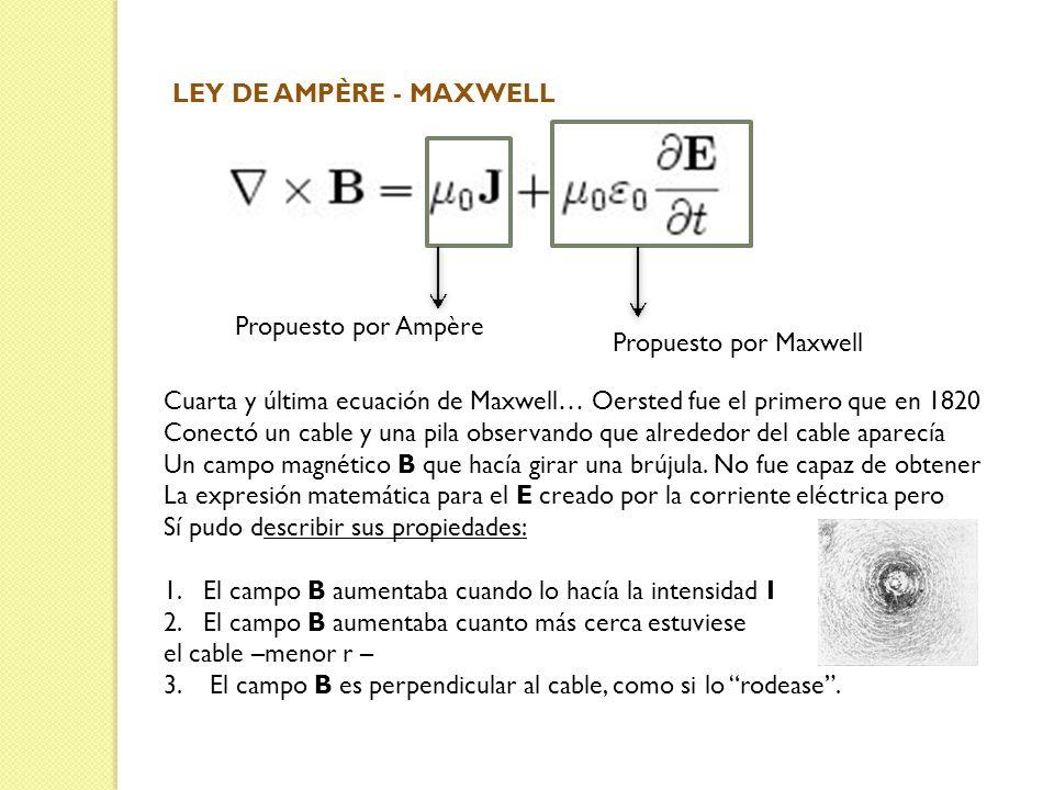 LEY DE AMPÈRE - MAXWELL Propuesto por Ampère. Propuesto por Maxwell. Cuarta y última ecuación de Maxwell… Oersted fue el primero que en 1820.