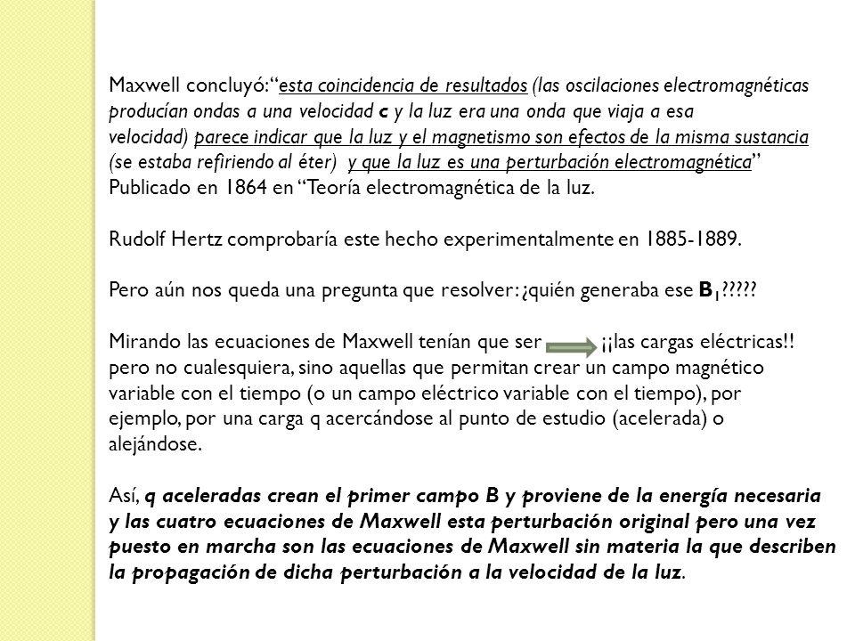 Maxwell concluyó: esta coincidencia de resultados (las oscilaciones electromagnéticas