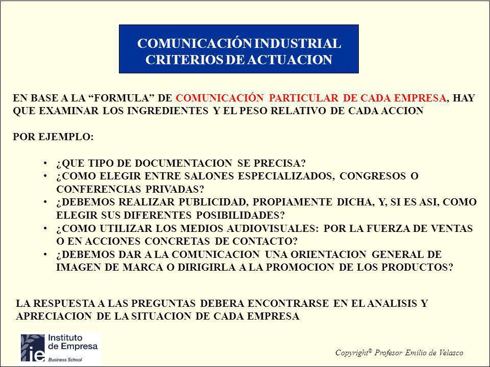 COMUNICACIÓN INDUSTRIAL CRITERIOS DE ACTUACION