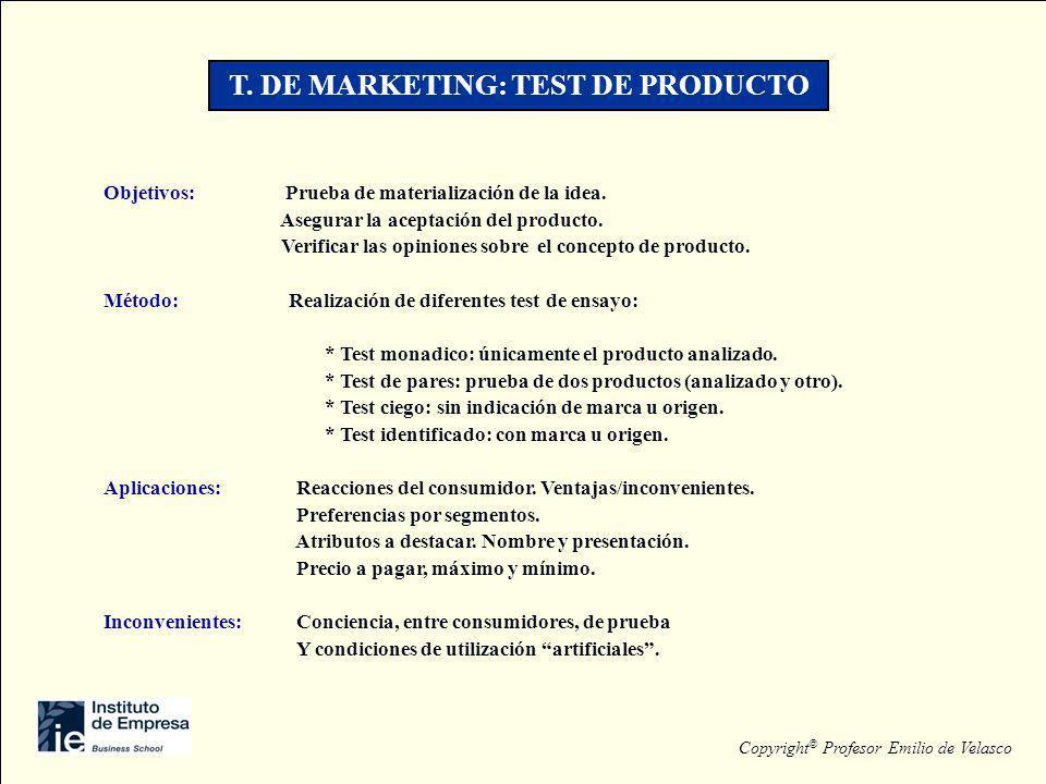 T. DE MARKETING: TEST DE PRODUCTO