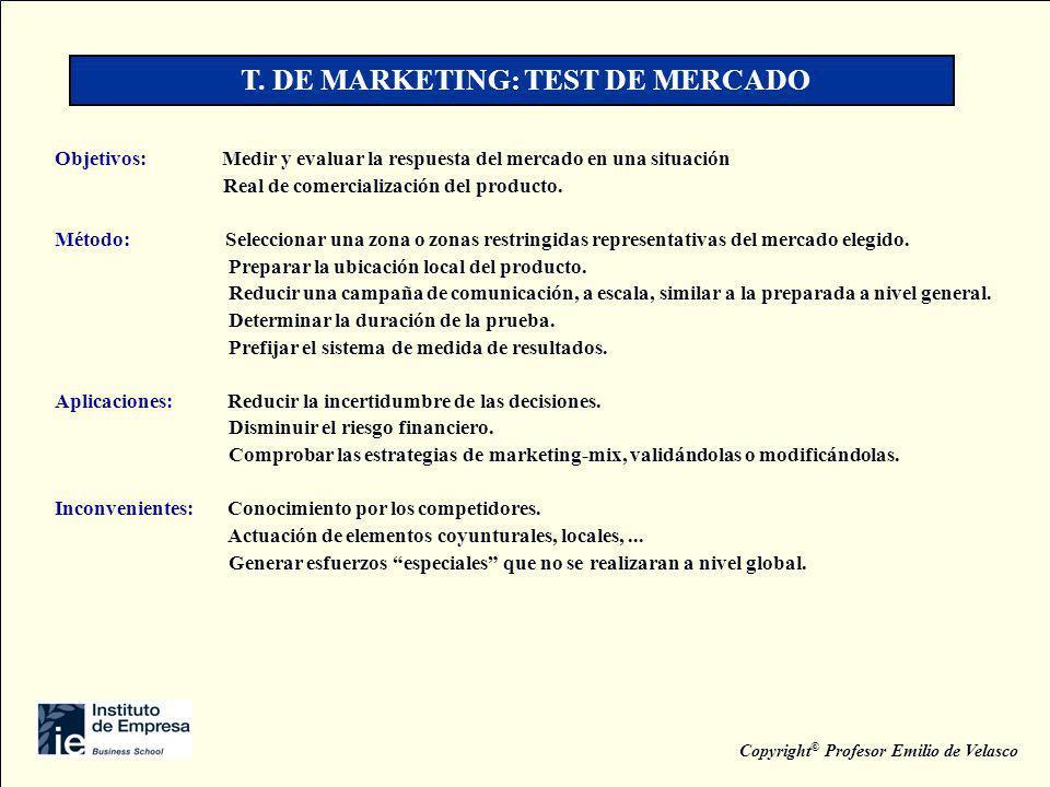 T. DE MARKETING: TEST DE MERCADO Copyright© Profesor Emilio de Velasco